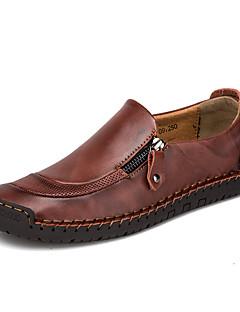 baratos -Homens Sapatos Confortáveis Pele Napa / Pele Primavera Verão Mocassins e Slip-Ons Preto / Castanho Claro / Castanho Escuro