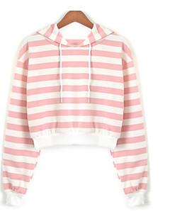 tanie Damskie bluzy z kapturem-Damskie Wyjściowe Szczupła Bluza z Kapturem - Prążki / Kolorowy blok