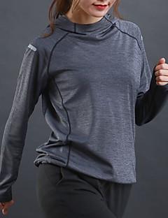 billiga Träning-, jogging- och yogakläder-Dam Ficka Huvtröja och sweatshirt - Röd, Grön, Grå sporter Rand Elastan Huvtröja Yoga, Löpning, Fitness Långärmad Sportkläder Snabb tork, Andningsfunktion, Reflexremsa Elastisk
