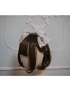 billiga Lolitamode-Lolita Accessoarer Vintage Rokoko Dam Brun / Grön / Blå Tryck Sydd spets Rosett Huvudbonad Polyster Kostymer