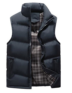 cheap Down Vest-Men's Going out Solid Colored Regular Padded, Polyester / POLY Sleeveless Stand Gray / Army Green / Khaki XXL / XXXL / 4XL