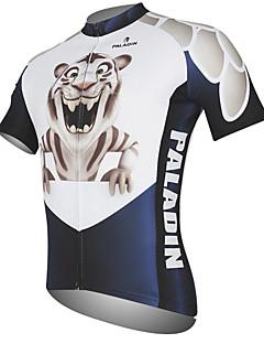 billige Sykkelklær-ILPALADINO Herre Kortermet Sykkeljersey - Svart / Hvit Dyr Tiger Sykkel Jersey Topper, Fort Tørring Ultraviolet Motstandsdyktig Pustende, Vår Sommer, 100% Polyester