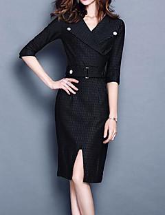 baratos Vestidos de Festa-Mulheres Moda de Rua / Sofisticado Reto / Bainha Vestido - Fenda, Geométrica / Quadriculada Médio