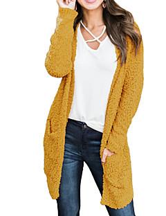 baratos Suéteres de Mulher-Mulheres Diário Básico Sólido Manga Longa Longo Cashmere, Decote V Outono / Inverno Cashmere / Algodão Amarelo / Azul Claro / Khaki M / L / XL