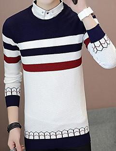 tanie Męskie swetry i swetry rozpinane-Męskie Okrągły dekolt Szczupła Pulower Kolorowy blok Długi rękaw