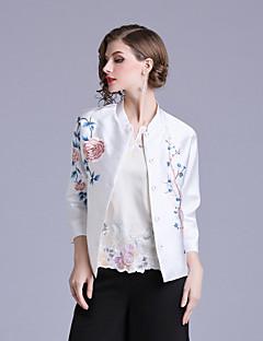 billige Skjorte-Dame - Blomstret Broderi Kineseri Skjorte