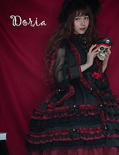 billiga Lolitamode-Söt Lolita Vintage Söt Lolita Ruffle Dress Spets Dam Klänningar Cosplay Svart Sydd spets Juliet Långärmad Midi Halloweenkostymer