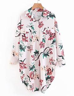billige Skjorte-Krave Tynd Dame - Blomstret I-byen-tøj Skjorte