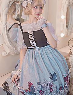 billiga Lolitaklänningar-Gotisk Lolita Söt Lolita Blom Vintage Dam Klänningar Cosplay Grå / Röd / Blå Ärmlös Ärmlös Midi Halloweenkostymer