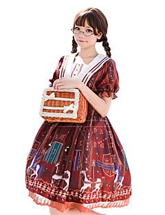 billiga Lolitamode-Söt Lolita Klassisk / Traditionell Lolita Söt Lolita Prinsess Lolita Dam Klänningar Cosplay Orange / Blå Biskop Kortärmad Långärmad Knälång Halloweenkostymer