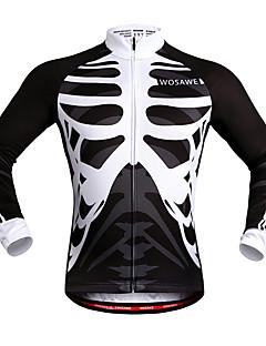 billige Sykkelklær-WOSAWE Unisex Sykkeljersey Sykkel Jersey / Topper Vindtett, Refleksbånd Skjelett Hvit / Svart Sykkelklær / Elastisk