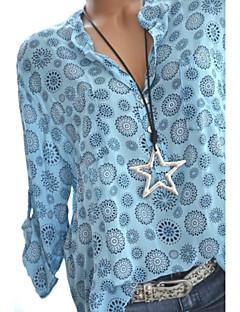 billige Skjorte-V-hals Tynd Dame - Grafisk Skjorte