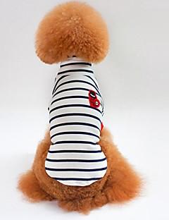 billiga Hundkläder-Hund / Katt T-shirt Hundkläder Randig Vit / Blå Cotton Kostym För husdjur Unisex Minimalistisk Stil / Ledig / Sportig