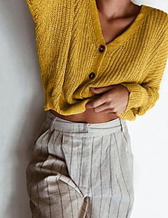 baratos Suéteres de Mulher-Mulheres Diário Básico Sólido Manga Longa Curto Carregam, Decote Redondo Primavera / Outono Algodão Vermelho / Cinzento / Amarelo M / L / XL