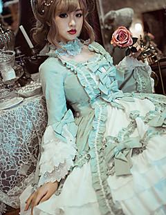billiga Lolitamode-Söt Lolita Vintage Söt Lolita Spets Dam Klänningar Cosplay Ljuslila / Grön Sydd spets Flamma Ärm Långärmad Midi Halloweenkostymer