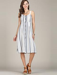 billige Damekjoler-Dame Grunnleggende / Elegant Skjorte Kjole - Stripet Knelang BLå & Hvit