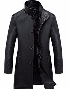 Χαμηλού Κόστους Men's Leather Jackets-Ανδρικά Καθημερινά Βασικό Φθινόπωρο & Χειμώνας Κανονικό Jeci Piele, Μονόχρωμο Όρθιος Γιακάς Μακρυμάνικο PU Θαλασσί / Μαύρο XL / XXL / XXXL