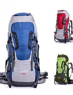 billiga Ryggsäckar och väskor-80 L Ryggsäck - Vindtät, Regnsäker, 3D Tablett Utomhus Camping, Resor Polyester Röd, Grön, Blå