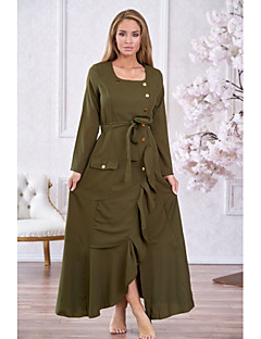 baratos Vestidos de Festa-Mulheres Elegante balanço Vestido Sólido Longo