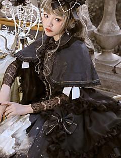 billiga Lolitamode-Gotisk Lolita Vintage Gotisk Lolita Chiffong Spets Dam Klänningar Cosplay Svart Juliet Långärmad Midi Halloweenkostymer