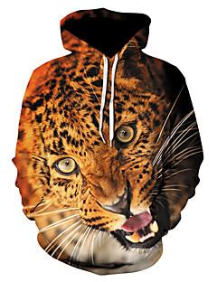 baratos Abrigos e Moletons Masculinos-Homens Moda de Rua / Punk & Góticas Moletom - Estampado, Leopardo / Estampa Colorida / Personagem
