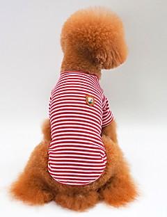 billiga Hundkläder-Hund / Katt T-shirt Hundkläder Randig Röd / Grön / Blå Cotton Kostym För husdjur Unisex Minimalistisk Stil / Ledig / Sportig