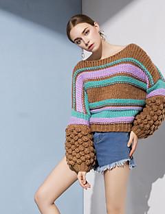 tanie Swetry damskie-Damskie Aktywny Latarnia rękawem Pulower - Patchwork, Prążki / Kolorowy blok