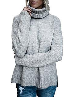 baratos Suéteres de Mulher-Mulheres Manga Longa Pulôver - Sólido / Colarinho Chinês / Outono
