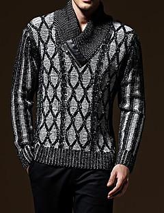 tanie Męskie swetry i swetry rozpinane-Męskie Wyjściowe Aktywny Solidne kolory Długi rękaw Regularny Pulower, Golf Szary L / XL / XXL