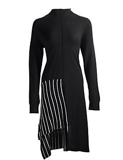 Χαμηλού Κόστους Sweater Dresses-Γυναικεία Βασικό Λεπτό Παντελόνι - Μονόχρωμο / Ριγέ Patchwork Ψηλή Μέση Μαύρο / Στρογγυλή Ψηλή Λαιμόκοψη / Ασύμμετρο