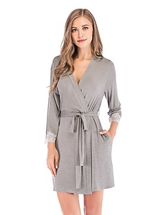 billige Moteundertøy-Dame Dyp V Skjorter og kjoler Pyjamas - Fargeblokk