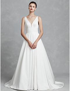 billiga Brudklänningar-Prinsessa V-hals Kapellsläp Satäng Bröllopsklänningar tillverkade med Veckad av LAN TING BRIDE®