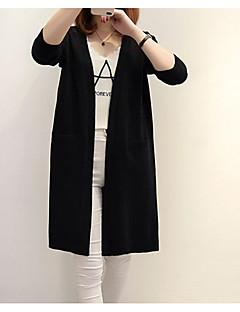 baratos Suéteres de Mulher-o cardigan longo magro da luva longa do fim de semana das mulheres - pescoço v contínuo da cor