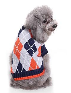 billiga Hundkläder-Hund Tröjor Hundkläder Färgat garn / Pläd / Rutig Kaffe / Ljusblå Terylen Kostym För husdjur Unisex Prickig & Rutig / Ledigt / vardag