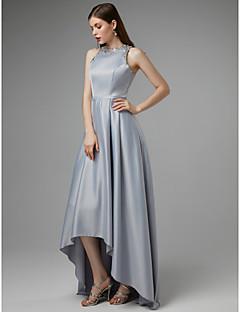 billiga Balklänningar-A-linje Prydd med juveler Asymmetrisk Satäng Kort och lång Bal Klänning med Bård av TS Couture®