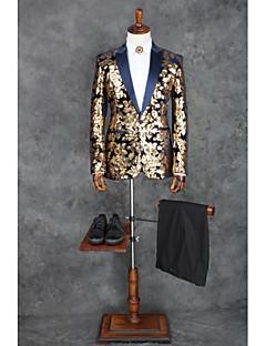 abordables Smokings & Costumes-Avec motifs Coupe Sur-Mesure Polyester Costume - Col Châle Droit 1 bouton