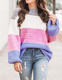 baratos Suéteres de Mulher-Mulheres Básico / Moda de Rua Pulôver - Estampa Colorida / Arco-Íris