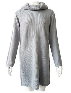 baratos Suéteres de Mulher-Mulheres Moda de Rua Pulôver - Sólido