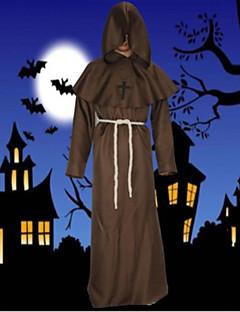 billige Halloweenkostymer-Pastor Cosplay Kostumer Maskerade Herre Voksne Ett Stykke Halloween Maskerade Festival / høytid Drakter kaffe / Rød / Blå Ensfarget Enkel