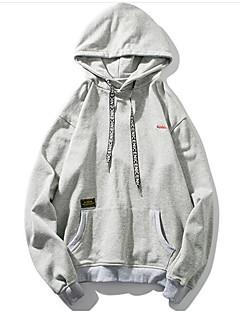 baratos Abrigos e Moletons Masculinos-camisola de algodão de manga comprida para homem - com capuz de cor sólida