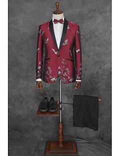 abordables Smokings & Costumes-Couleur Pleine Coupe Sur-Mesure Polyester Costume - Cranté Droit 1 bouton