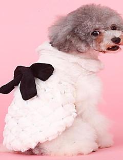 billiga Hundkläder-Hund / Katt Kappor Hundkläder Enfärgad / Rosett Beige Plysh Kostym För husdjur Dam Stilig / Rosett