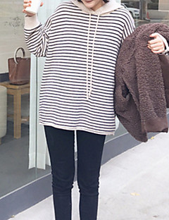 baratos Moletons com Capuz e Sem Capuz Femininos-hoodie solto de manga comprida para mulher - com capuz listrado