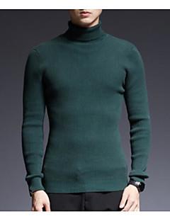 baratos Suéteres & Cardigans Masculinos-homens saindo manga comprida magro pulôver - gola alta de cor sólida