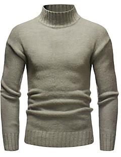 baratos Suéteres & Cardigans Masculinos-pullover slim de manga comprida masculina - gola alta de cor sólida
