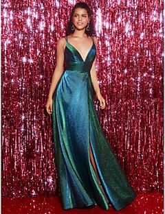 billige Boutique-kjoler! STOR RABATT-A-linje Stikkende halslinje Gulvlang Paljetter Åpen rygg Formell kveld Kjole med Delt front / Kryssdrapering av TS Couture®