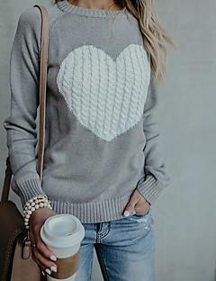 baratos Suéteres de Mulher-Mulheres Diário Básico Geométrica / Coração Manga Longa Delgado Padrão Pulôver Bege / Azul Marinha / Cinzento L / XL / XXL