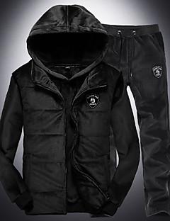 baratos Abrigos e Moletons Masculinos-conjunto de activewear de manga comprida para homem - capuz de cor sólida
