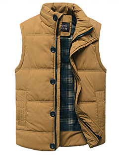 cheap Down Vest-Men's Daily Solid Colored Regular Vest, Cotton / Polyester Sleeveless Stand Black / Yellow XL / XXL / XXXL
