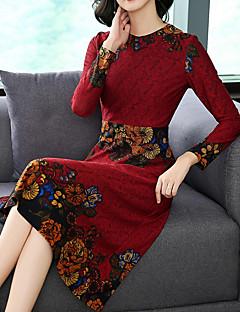 Недорогие Принты-Жен. Классический Оболочка Платье - Цветочный принт Вырез под горло Средней длины
